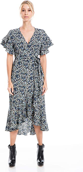 Max Studio Women's Ruffle Crepe High/Low Wrap Midi Dress