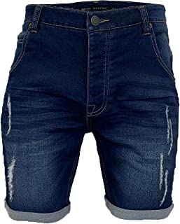 Brave Soul Mens Ripped Denim Shorts Blue Wash Taylor Faded Jeans Pants Lincoln