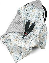 Einschlagdecke für Babyschale Kinderwagen Autositz - universal baby Decke z. B. Maxi Cosi, Buggy Autoschale Babydecke aus Minky Oeko-Tex zertifiziert Hellgrau minky mit Tiere, 90cm x 90cm