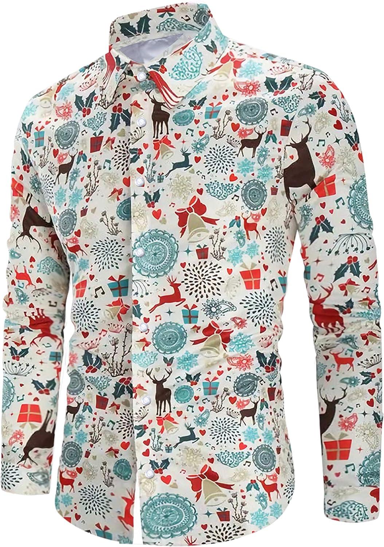 Loveternal Camisa de Navidad Hombre 3D Funky Camisas Casual Slim Fit Manga Larga Christmas Shirt M-XXL