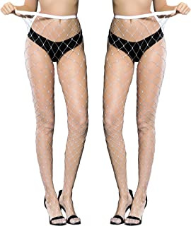 2 Pairs Women's Rhinestone Fishnets Pantyhose Hollow Out Pantyhose Tights