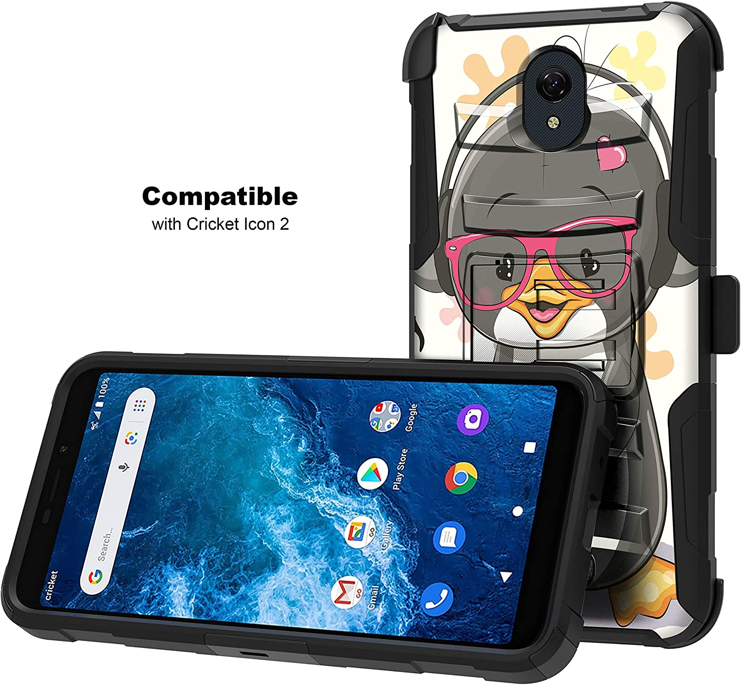 TurtleArmor | Compatible with Cricket Icon 2 Case | U325 [Hyper Shock] Hybrid Reinforced Dual Layer Case Belt Clip Holster Stand Sea Ocean - Cute Penguin