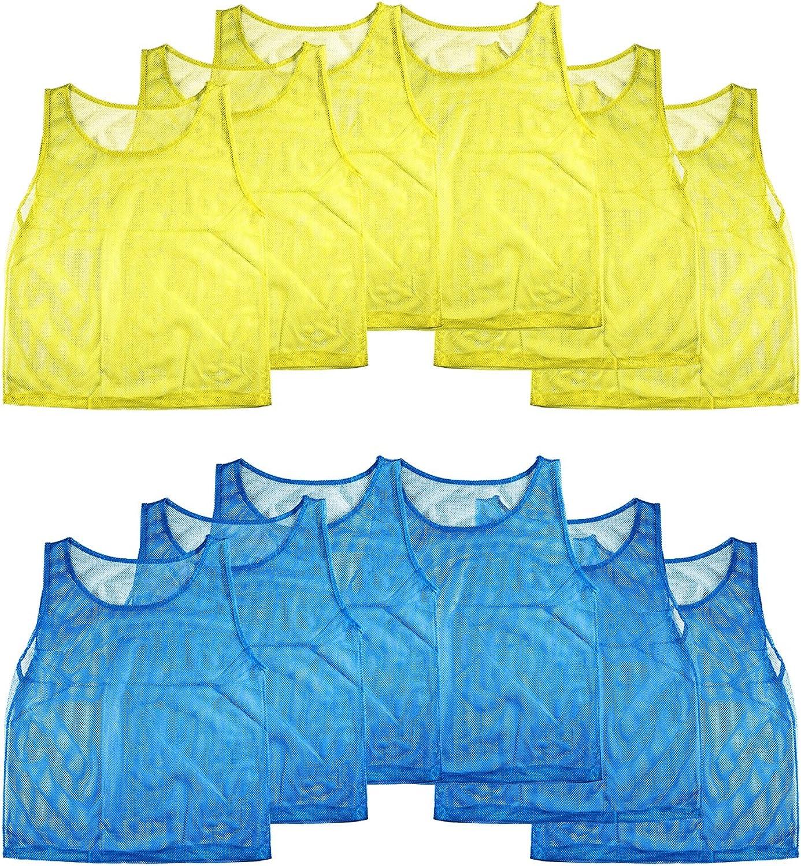 nueva marca súper Z Outlet Nailon Malla Scrimmage Chalecos de Equipo práctica práctica práctica Camisetas Pinnies para Niños Juventud Deportes Baloncesto, Fútbol, fútbol, Voleibol (12) de Jerseys  tienda de venta en línea