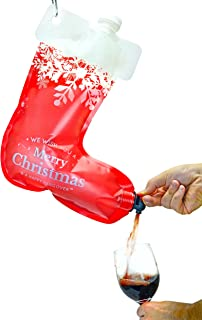 Fairly Odd Novelties FON-10243 Happy Hangover Wine and Spirit Hanging Plastic Christmas Holiday Stocking Flask, 1, Red/White