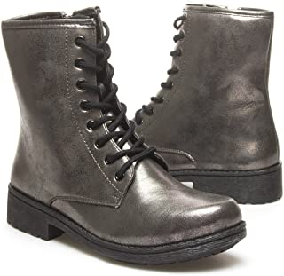 Qupid Womens MISSILE04 Closed Round Toe Military Combat Lace Up High Top Low Heel Flat Mid Calf Ankle Bootie Boot Shoes, Pewter Grey Metallic PU Leather, 8 B (M) US