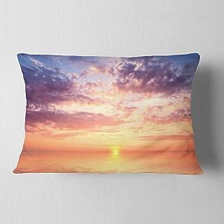 Designart Cloudy Blue Sky and Ideal Sunset' Seascape Throw Lumbar Living Room, Sofa, Pillow Insert + Cushion Cover Printed...