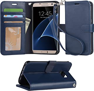 Galaxy S7 Edge case, Arae [Wrist Strap] Flip Folio [Kickstand Feature] PU Leather Wallet case with ID&Credit Card Pockets for Samsung Galaxy S7 Edge - Blue