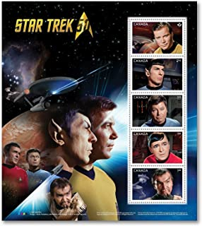 """Star Trek 50th Anniversary Pane of 5 - Captain Kirk, Spock, Scotty, Doctor Leonard """"Bones"""" McCoy and Kor - Collectible Postage Stamps Canada"""