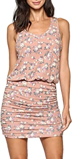 LaClef Women's Mini Ruched Tank Shift Dress