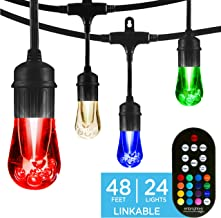 Enbrighten 37790, Black, Vintage Seasons LED Warm White & Color Changing Café String Lights, 48ft, 24 Premium Impact Resistant Lifetime Bulbs, Wireless, Weatherproof, Indoor/Outdoor, 48 ft