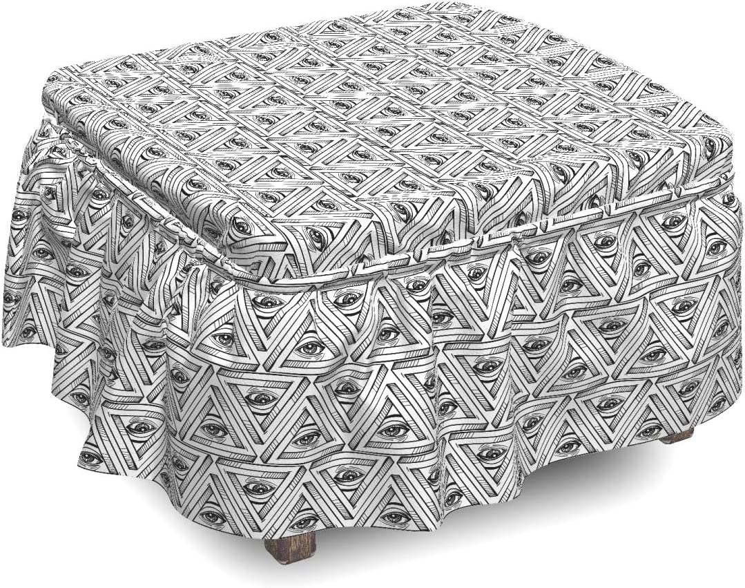 Sale Special Price Ambesonne Eye Ottoman Cover All Same day shipping 2 S Piece Pyramidal Seeing