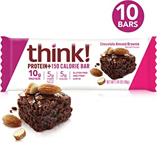 think! (thinkThin) Protein+ 150 Calorie Bars - Chocolate Almond Brownie, 10g Protein, 5g Sugar, No Artificial Sweeteners, Gluten Free, GMO Free, 1.4 oz bar (10 Count - packaging may vary)