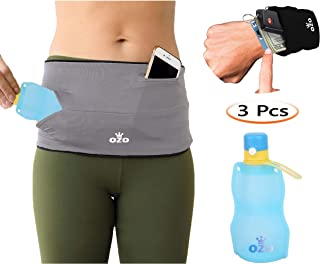 OZO Running Belt with Free Wrist Wallet and Silicone Water Bottle, Fanny Pack, Waist Pouch, Travel Money Belt, Hydration Pack for Men and Women