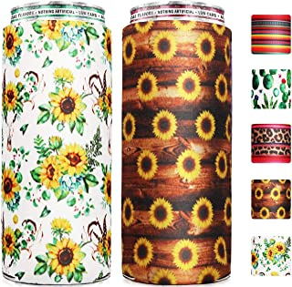 Claw Coozie Slim Can Cooler [ 2 Pack ], Ain't No Laws When You're Drinking Claws, Skinny Beer Cans Coolie Skinny Insulators, Claw Can Cooler Sleeve Sunflower & Sunflower