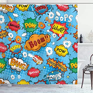 Ambesonne Superhero Shower Curtain by, Colorful Comic Style Icons Effects Boom Scream Magazine Signs Pop Art Illustarion, Fabric Bathroom Decor Set with Hooks, 84 Inches Extra Long, Multicolor