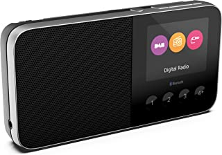 PURE Move T4 Personal DAB+ and FM Radio, Pocket-Sized Rechargeable Radio with Bluetooth and Built-in Speaker, Black
