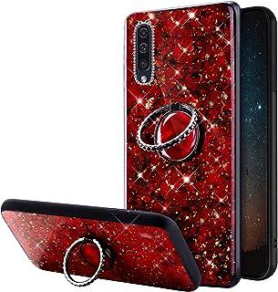 Funda Compatible con Samsung Galaxy A50 Carcasa Case Polvo de Brillo Purpurina Glitter Bling Rhinestone Anillo Soporte TPU...
