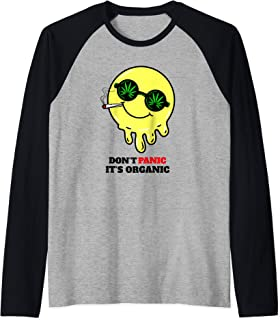 Don't Panic It's Organic Funny Acid Smiley Face Design Raglan Baseball Tee