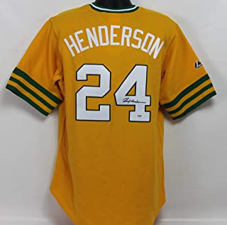 a36fd4030 Rickey Henderson Autographed Oakland Athletics Gold Majestic Jersey  w PSA DNA COA