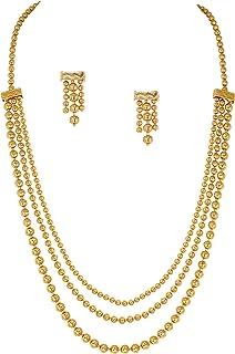 Jewelsiya One Micron 18K مطلية بالذهب متعدد الأشرطة ثلاثة خطوط سلسلة قلادة مجموعة للبنات والنساء