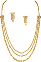 Jewelsiya One Micron 18K Gold Plated Multi Strand Three Line Chain Necklace Set for Girls and Women