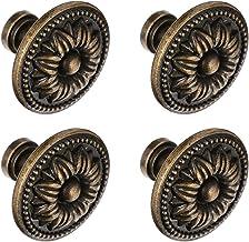 DOITOOL 4 stuks 3 cm trekgreep kast lade deurknop zinklegering antiek brons vintage ééngats deurgrepen ronde kast commode ...