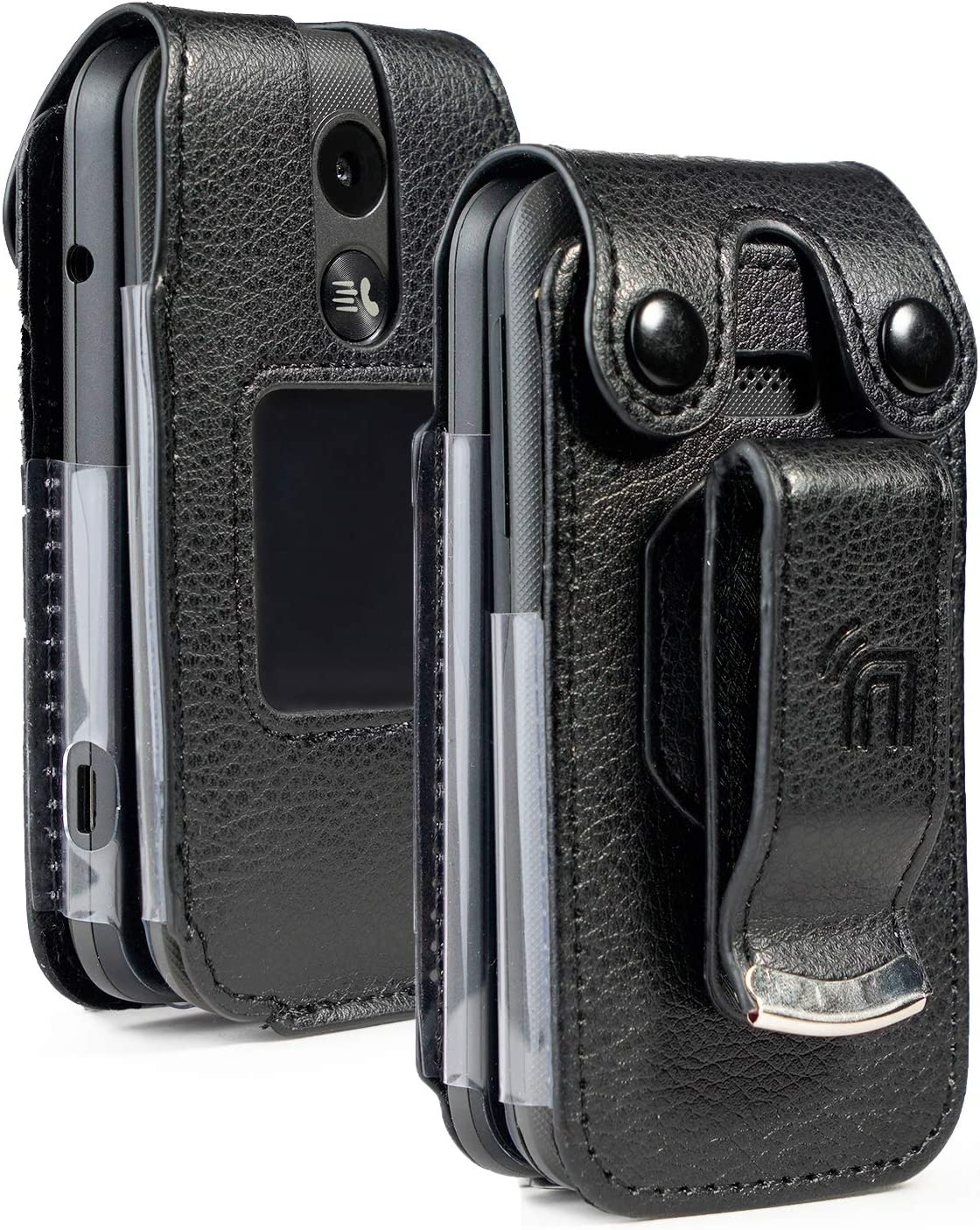 Case for MyFlip-2, Nakedcellphone [Black Vegan Leather] Form-Fit Cover with [Built-in Screen Protection] and [Metal Belt Clip] for Alcatel MyFlip 2 Phone (A406DL), TCL My Flip 2