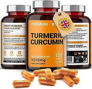 Gurkmeja curcumin med extrakt av svartpeppar (BioPerine) 1210 mg | Veganskapslar med hög styrka | Inga tillsatser eller bi...