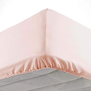 Douceur d'Intérieur, Drap Housse 2 Personnes 140 X 190 cm Microfibre Unie Oscar Nude, 100% Polyester