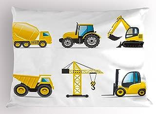 Lunarable Nursery Pillow Sham, Cartoon Style Heavy Machinery Truck Crane Digger Mixer Tractor Construction, Decorative Standard King Size Printed Pillowcase, 36