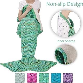 Tirrinia Adult Sherpa Mermaid Tail Blanket, Super Soft Warm Crochet Mermaid Blanket for Adult Teens Women, Anti-Slip Neck Strap Design   Perfect for Women Girls Green