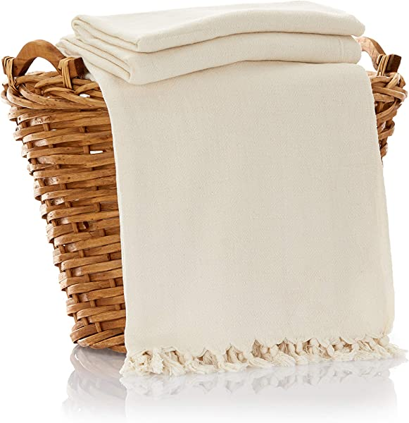 Bamboo Throw Blanket Ultra Soft Natural Premium For Couch Sofa Bed With Handmade Tassels 90 L X 60 W Natural Ivory