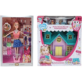 CADDLE & TOES™ Doll House for Girls / Doll Set with Pink Slippers Doll , 10 Sets of Fashion Accessories, Dress,earings + a Cute Doll House with Doll Free