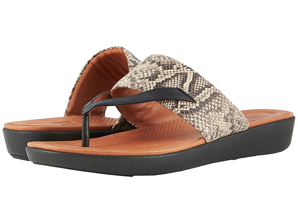 FitFlop Delta Toe Thong Sandals (Taupe Snake/Black) Women