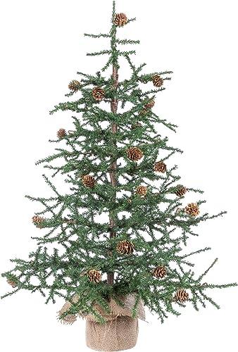 "Vickerman 30"" Caramel Pine Artificial Christmas Tree Unlit, Seasonal Indoor Home Decor with Decorative Burlap Base"