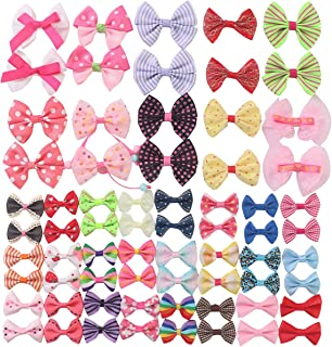 YAKA68pcs(34pairs) Mix Grosgrain Ribbon Mini Bow Ties Craft Rose Appliques Craft Wedding Hair Bow DIY Decor 34Color (Style3)