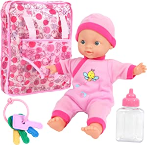 """Click N' Play Baby Girl Doll 12"""" with Take Along Pink Doll Backpack Carrier and Accessories"""