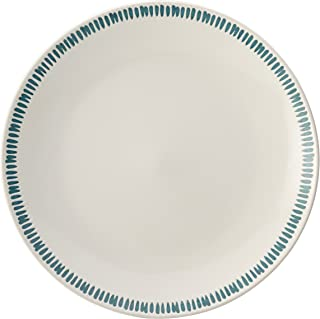 Rachael Ray Cucina Sun Daisy Dinnerware 10.75-Inch Stoneware Dinner Plate, Agave Blue