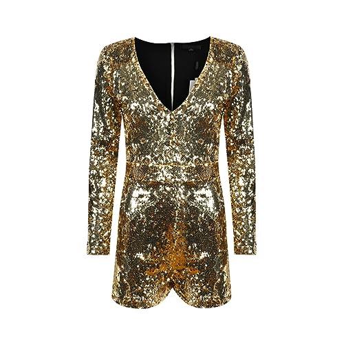 d64c33f30d HAOYIHUI Women s Sparkly Sequin V Neck Long Sleeve Romper Playsuit Jumpsuit  (XX-Large