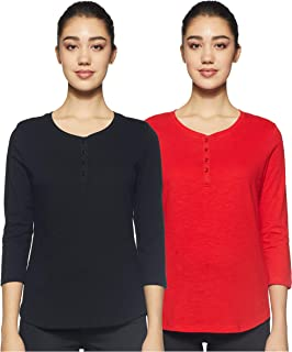 Amazon Brand - Symbol Women's Solid Regular Fit 3/4 Sleeves Cotton T-Shirt (Combo Pack of 2)