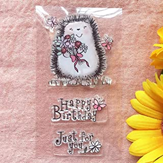 GAWEI Clear Stamps for Scrapbooking and Card Making Words Happy Birthday Just for You Hedgehog Transparent Stamps Silicone...