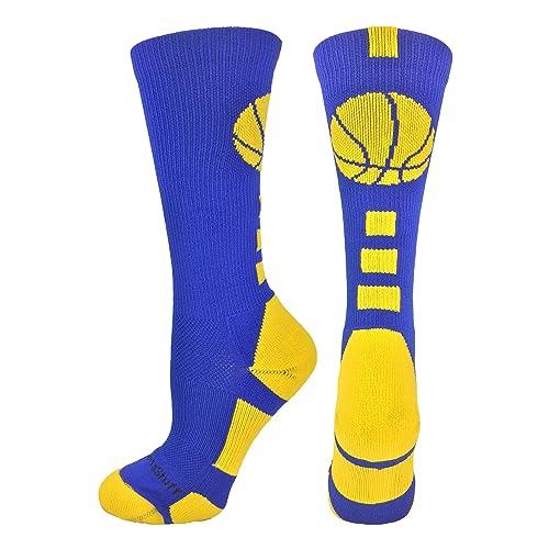 03284d7eeaf9 MadSportsStuff Basketball Socks with Basketball Logo Athletic Crew Socks  (Over 20 Colors)