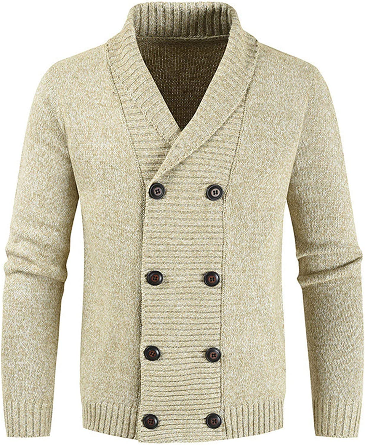 Flygo Men's Casual Shawl Collar Double Breasted Knitted Cardigan Sweaters