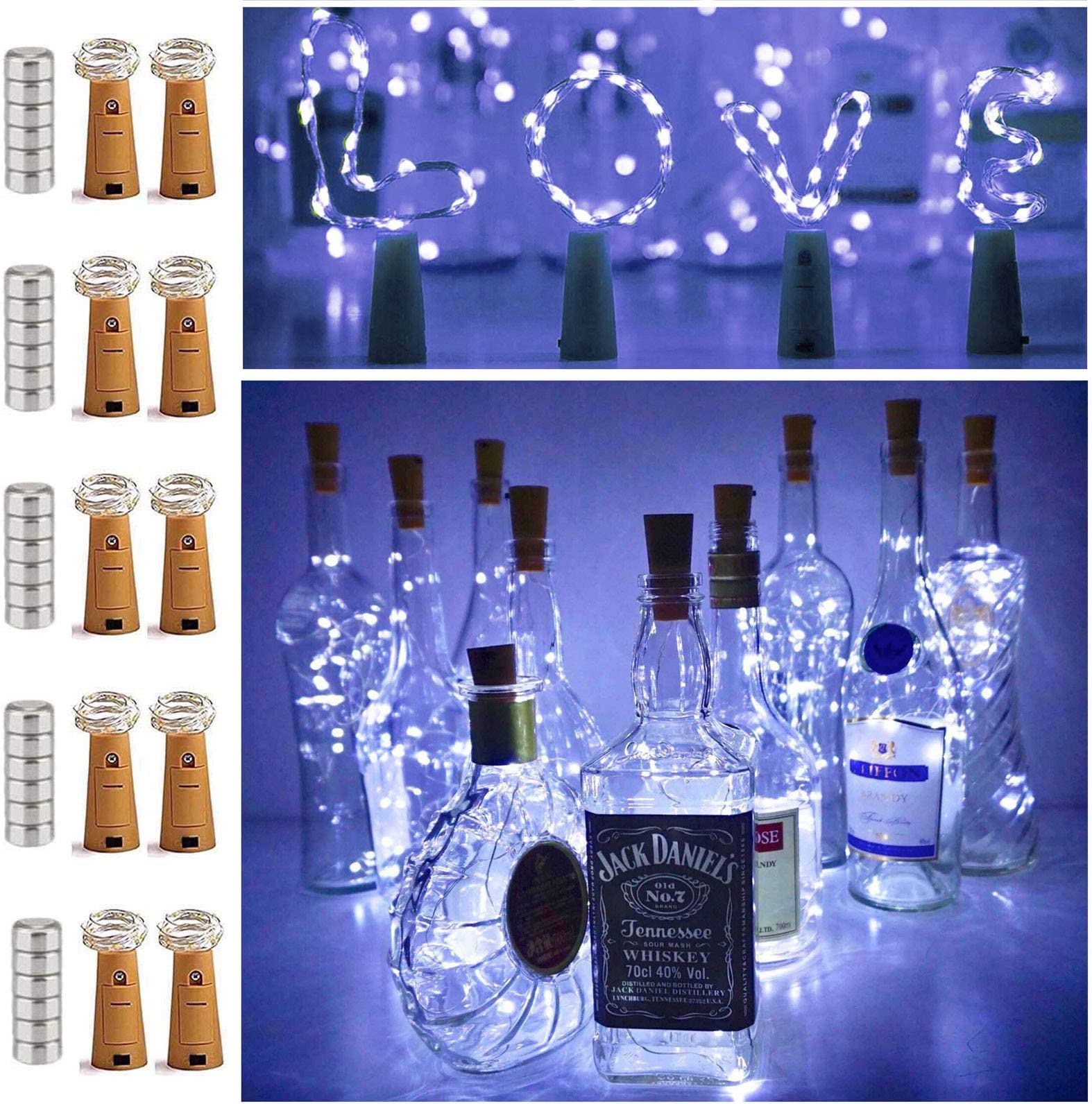 10x 20LED Copper Wire Wine Bottle Cork Battery Operated Fairy String Light GS