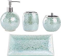 Whole Housewares Bathroom Accessories Set, 4-Piece Glass Mosaic Bath Accessory Completes Lotion Dispenser/Soap Pump, Cotto...