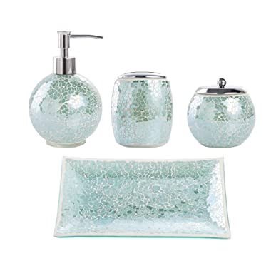 Whole Housewares Bathroom Accessories Set, 4-Piece Glass Mosaic Bath Accessory Completes with Lotion Dispenser/Soap Pump, Cotton Jar, Vanity Tray, Toothbrush Holder