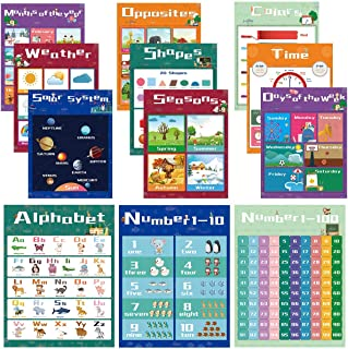 ملصقات تعليمية للأطفال في مرحلة ما قبل المدرسة وملصقات للأطفال لغرفة الأطفال والمدرسة المنزلية ورياض الأطفال، ملصق ألوان ا...