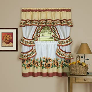WPKIRA Voile Sheer Valance Green Leaf, 2 Panels Per Package, 39 Wide x 21 Long Kitchen Window Treatment Voile Valances Rod Pocket Embroidery Leaves Sheer Tier Curtains for Small Window//French
