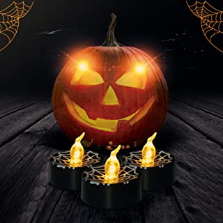 LedBack Halloween Decorations Candle Black Tea Lights 12 PCS Orange Yellow Flameless Flickering LED Battery Operated Candles Electric Light Candle Tea Lights for Party Home Decor Spider Web Design