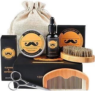 Fixget baardverzorgingsset, voor mannen, wildzwijnharen, baardborstel, baardkam en baardolie en baardbalsem & baardschaar...